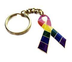 Rainbow Ribbon Schlüsselanhänger Metall