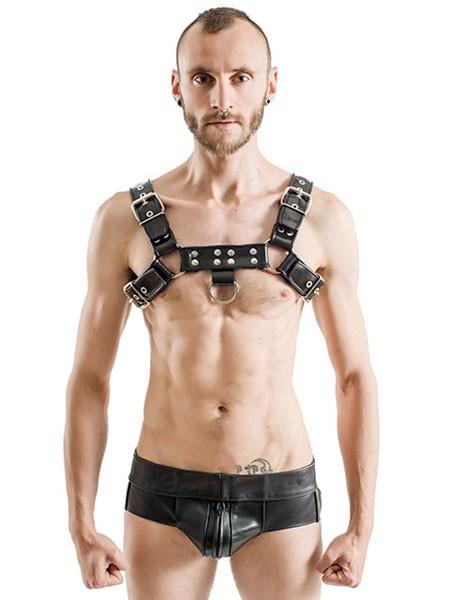 Mister B Rubber Chest Harness Premium Black S/M
