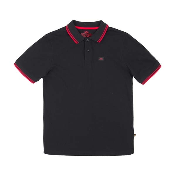 Alpha Industries Polo Shirt schwarz/rot