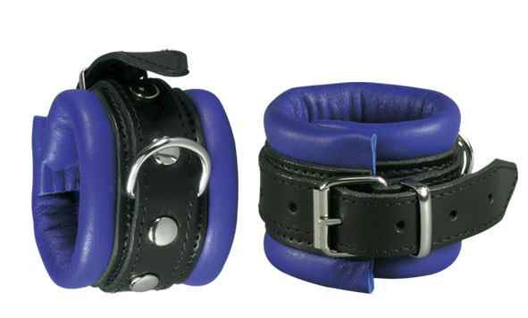 Leather Wrist Restraints Classic, blue