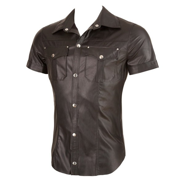 Synthetic Leather Shirt, Uniform Style