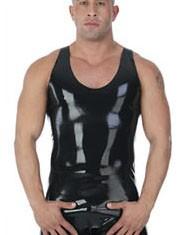 Latex Trägershirt schwarz, Größe XL