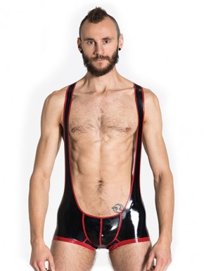 Rubber Backless Wrestling Suit Red